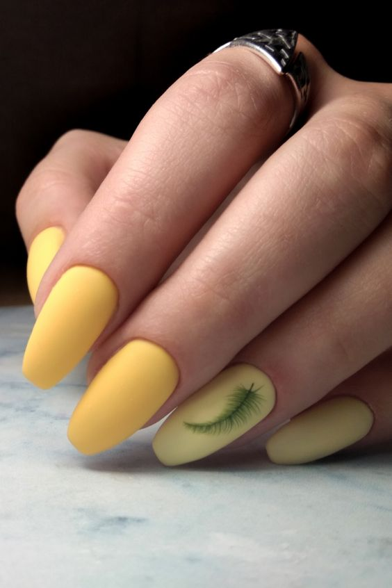 Matte Pale Yellow Almond Acrylic Nails Design | Best Yellow Spring + Summer Nails Ideas