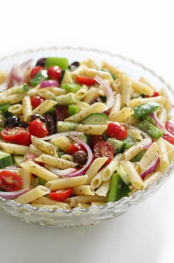 Gluten-Free Greek Pasta Salad (Vegan) Recipe + Photo by STRENGTHANDSUNSHINE.COM