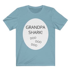 "Grandparents Day Gift Idea for Grandfather: ""Grandpa Shark"" Tee Shirt (by Shrimp Salad Circus on Etsy)"
