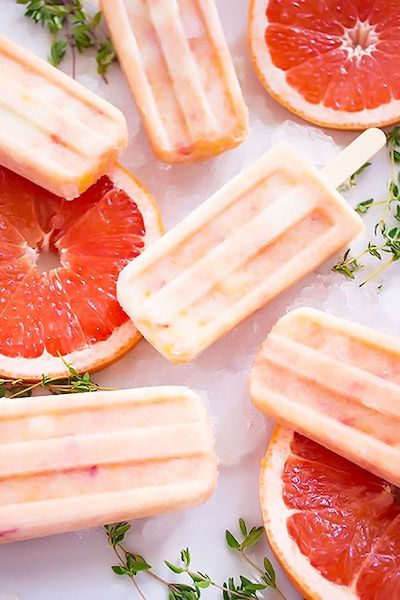 Grapefruit Peach Popsicles with Maple + Thyme Recipe + Photo by Pass Me Some Tasty