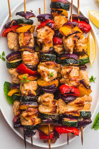 Grilled Chicken Kabobs Recipe + Photo by LITTLESUNNYKITCHEN.COM