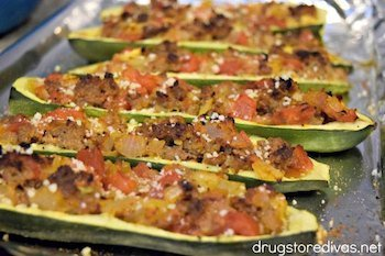 Sausage Stuffed Zucchini Boats Recipe + Photo via DRUGSTOREDIVAS.NET