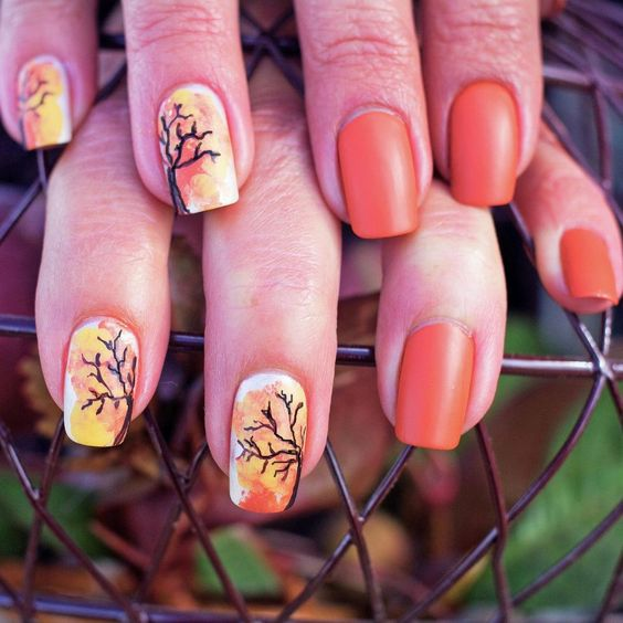 Fall Nails Ideas | Burnt Orange Square Acrylic Fall Nails with Fall Tree Design