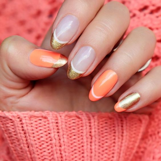 Fall Nails Ideas | Chic Peach and Gold Glitter French Tip Round Acrylic Fall Nails