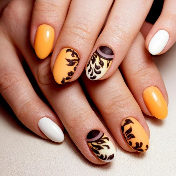 Fall Nails Ideas | Elegant Short Round Acrylic Fall Nails Design