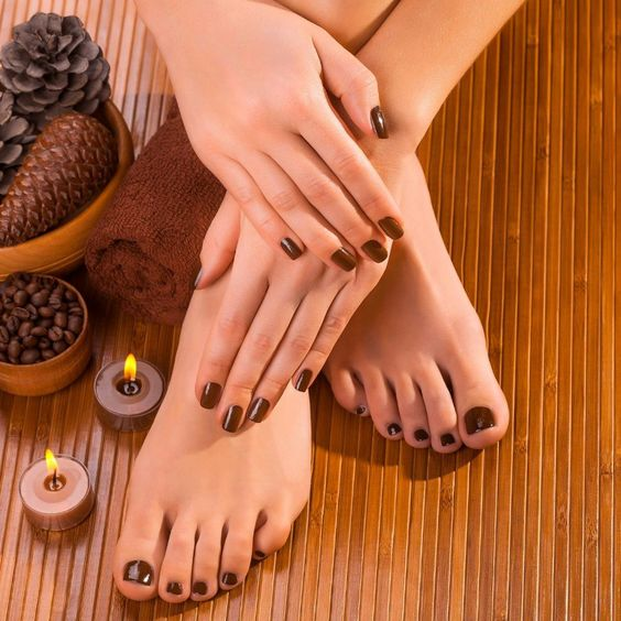 Fall Nails Ideas | Short Dark Brown Fall Nails (Mani / Pedi)