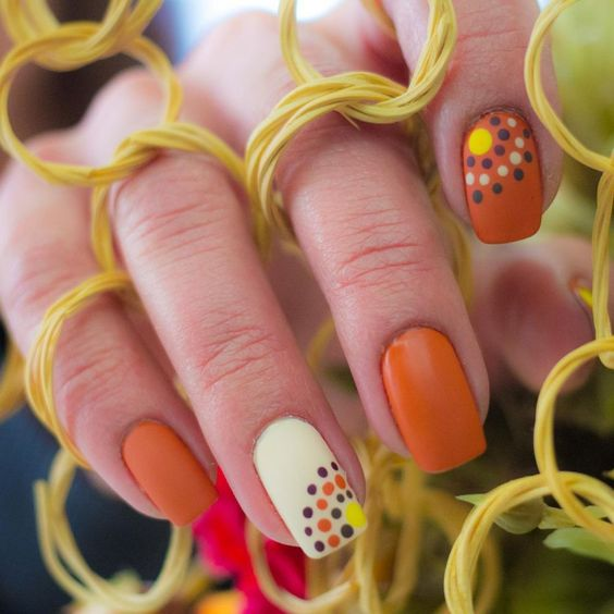 Fall Nails Ideas | Square Acrylic Fall Nails with Cute Simple Dots Design