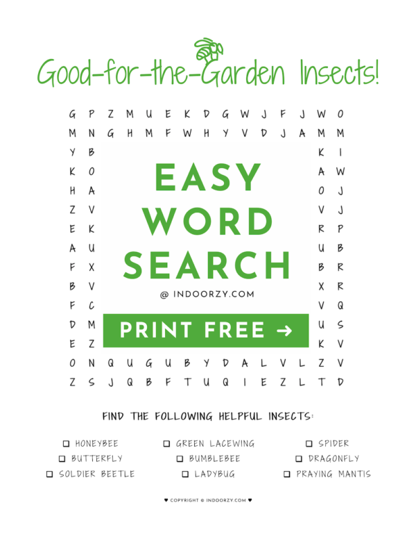 Easy FREE Good Garden Insects Word Search PDF Printable for Kids or Adults! A fun activity to learn about good bugs for a garden!