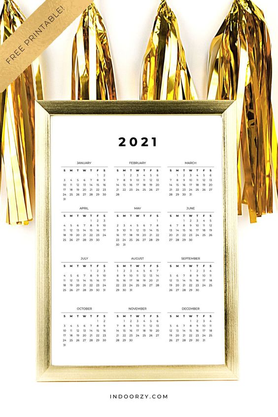 FREE Minimal 2021 Calendar Printable Year-At-A-Glance