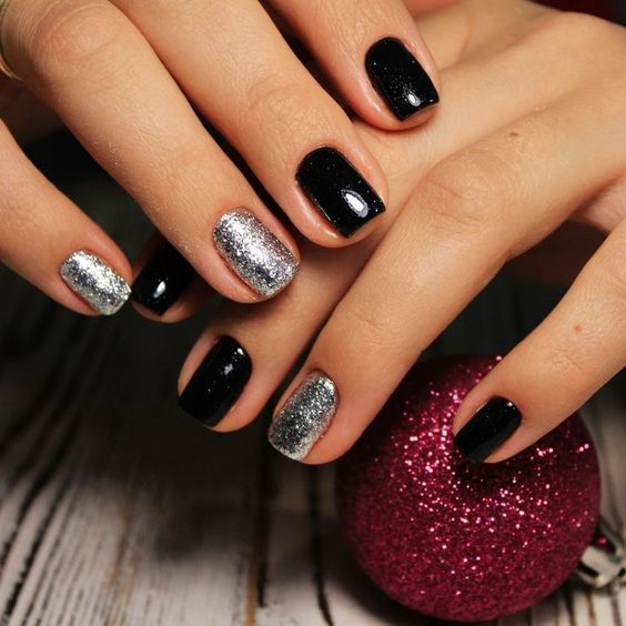 Simple Black and Silver Christmas Nails for Short Nails