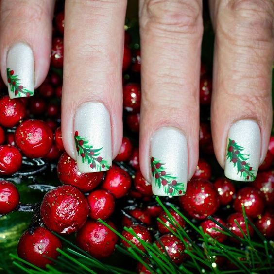 White Christmas Nails with Evergreen Holly Berries