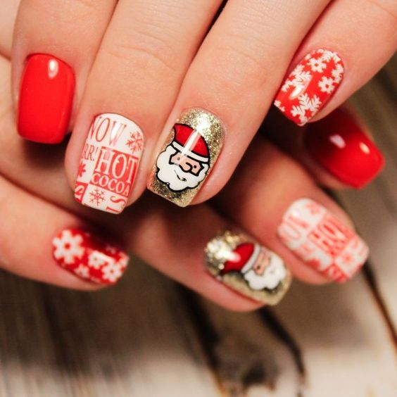 Cute Gold and Red Christmas Nails with Snowflakes, Santa + Hot Cocoa