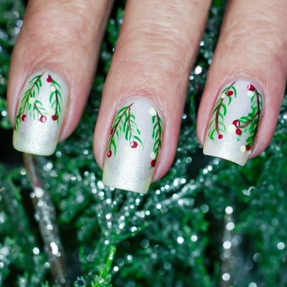 Easy Green and Red Christmas Nails Holly Berries Mistletoe Design
