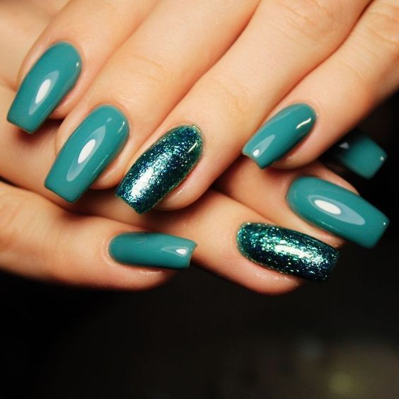 Teal Green Glitter Acrylic Coffin Christmas Nails