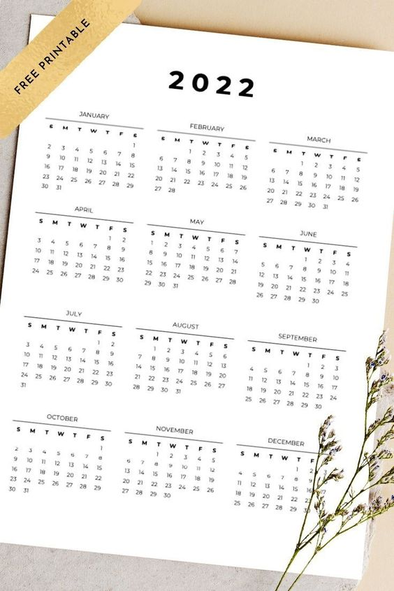 Free 2022 Calendar Printable One Page Yearly