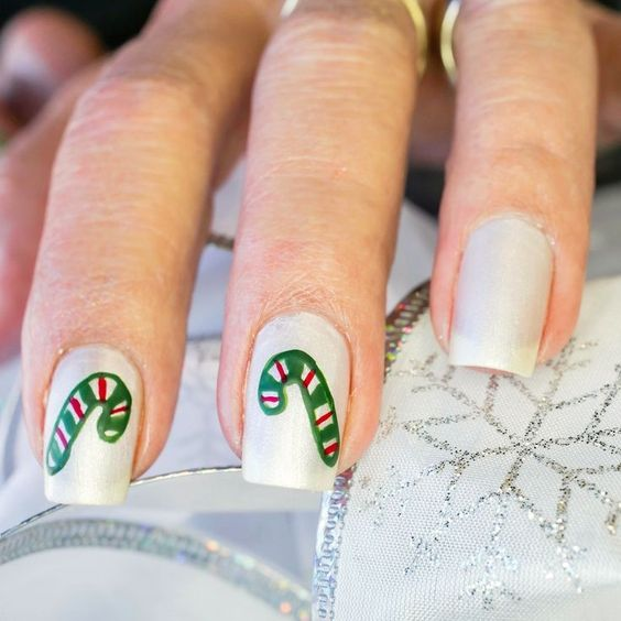 Pearly White Candy Cane Christmas Nails