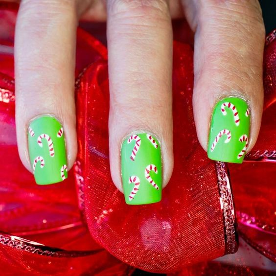 Lime Green Candy Cane Christmas Nails