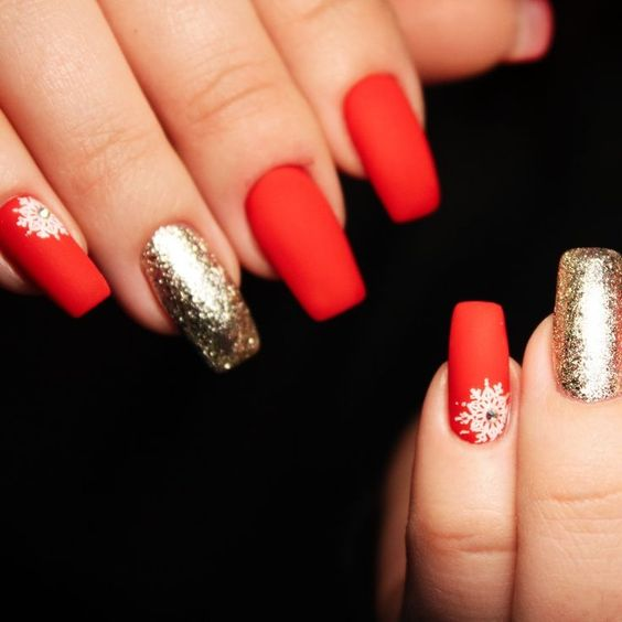Classy Gold and Red Christmas Nails with Snowflakes
