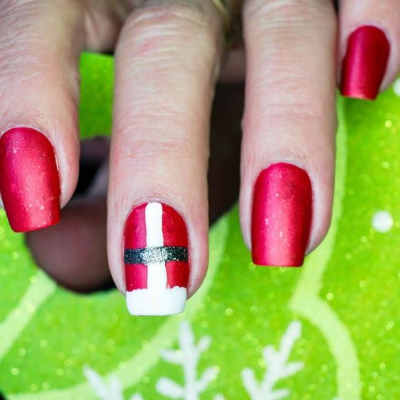 Red Christmas Nails French Tip Santa Suit Design
