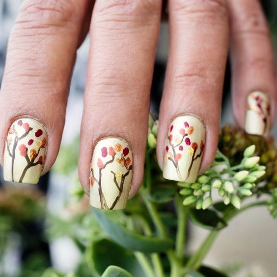 Best Simple Fall Nails Ideas! Easy Autumn Leaves Tree Nail Design